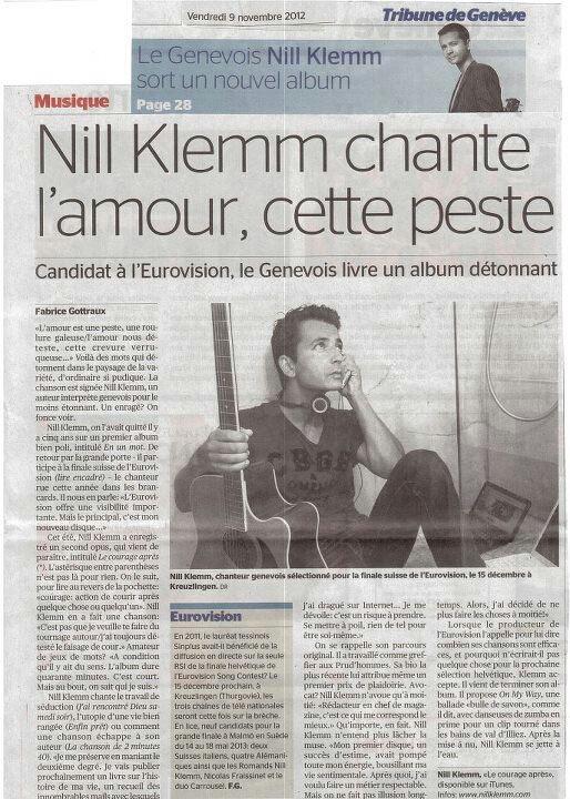 ♫  Nill Klemm ♫  Tribune de Genève du 9 novembre 2012  ♫