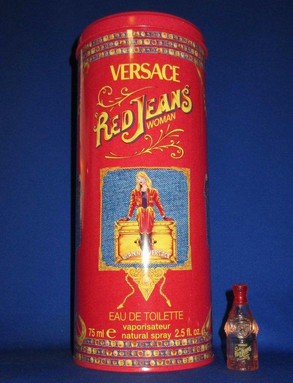 ✿ Versace Gianni - RED JEANS - Factice géant et sa mini ✿