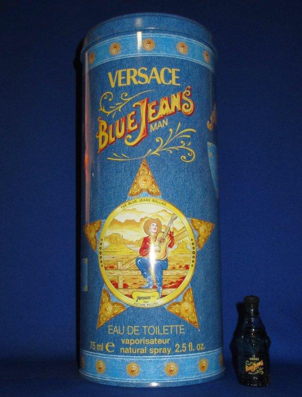 """✿ Versace - BLUE JEAN - Factice """"géant"""" et sa mini ✿"""