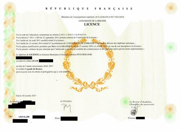 Obtention du diplôme de licence