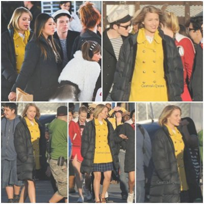Diana Agron sur le tournage de Glee