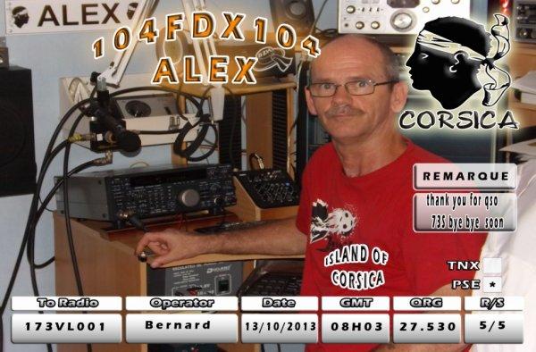 qsl contact de 104 fdx104 alex