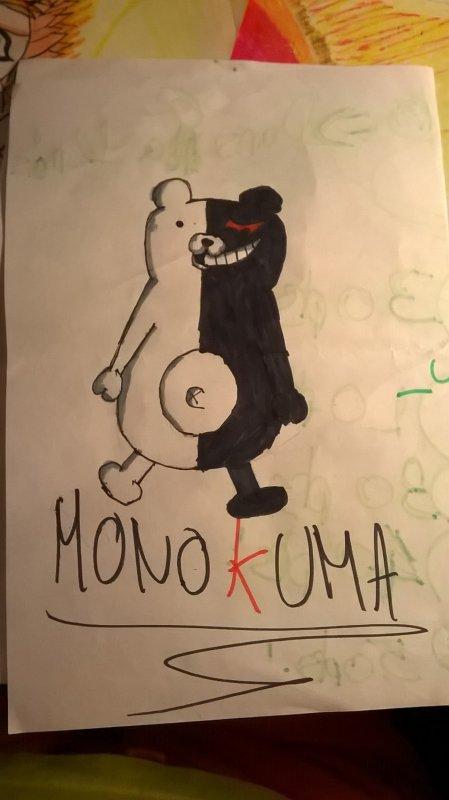 J'ai dessiner Monokuma de Danganronpa 1 !Vous le trouvez comment ?😁😁