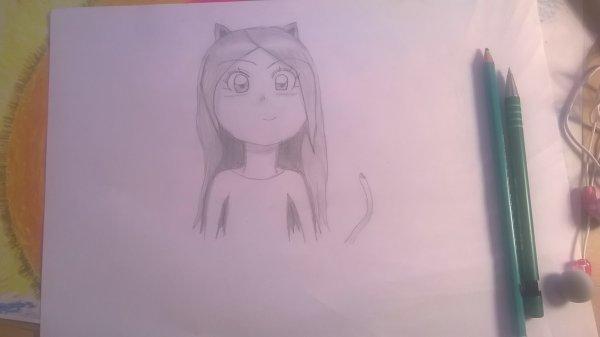 J'ai dessiner Satine Walle(avec des petites oreilles et une queue de chat)😍❤ Comment la trouvez vous ?(elle est en noir et blanc pour l'instant,mais peut être que je la ferait en couleurs😉😉)(ps:comme vous l'aurez vu,je l'ai faite en version manga😊😊)