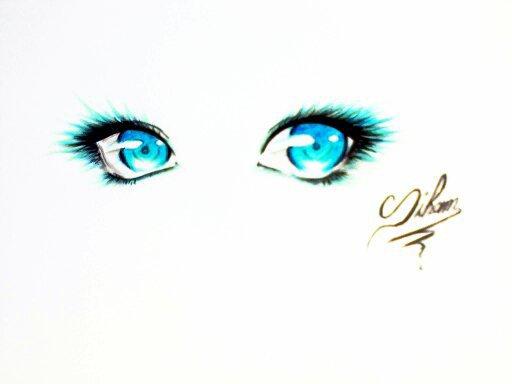 yeux bleu ( dessin fait par Siham Bouyerbou )
