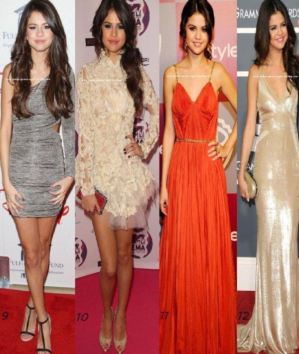 Avant de finir l'annnée 2011, votez pour la meilleure tenue, puis, la meilleure robe de Selena gomez!