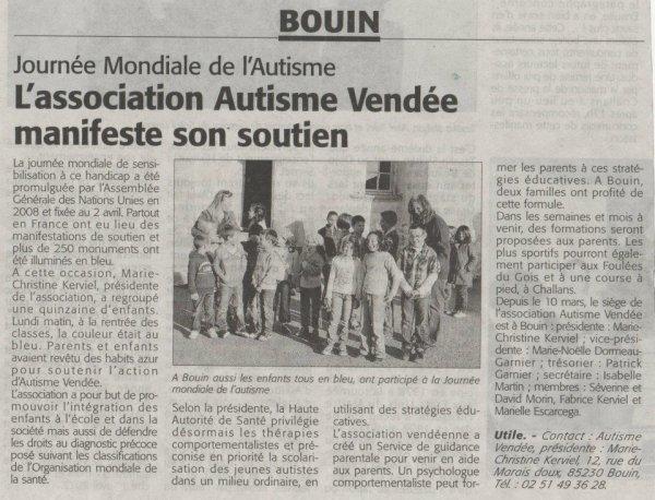 L'association Autisme Vendée, magnifeste son soutien.