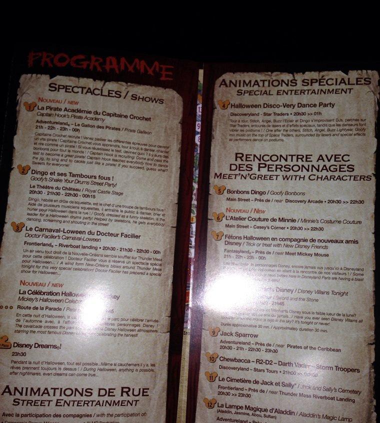 Le programme de la soirée Halloween Disney sera posté sur place aux alentours de 17h00.