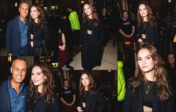 """"""" • 17/10/18 — Lily James s'est rendue à la soirée « Company » en compagnie de son copain Matt Smith située dans Londres ! """""""