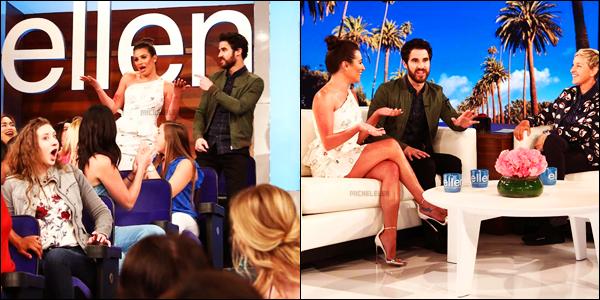 . 09/04/2018 : Mlle Lea Michele et Darren Criss étaient présents sur le plateau de l'émission The Ellen Show[/font ] à LA. Les deux amis de longue date ont fait une grande annonce : ils partent tous les deux en tournée cet été. Je suis contente pour ma Lea !   .