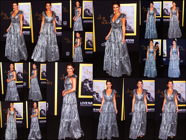. 24/09/2018 : Lea Michele était présente à l'avant première du film A Star is Born[/font ] dans les rues de Los Angeles. La chanteuse est donc allée encourager Lady Gaga et Bradley Cooper pour la sortie de leur film. Lea Michele est vraiment magnifique !   .