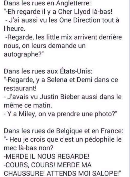 Voilà en France c'est pas comme en Angleterre et aux États-Unis.