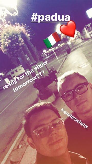 Georg Instagram Story le 08.11.2017 - prêt pour le show de demain??? 🇮🇹❤️ #padua