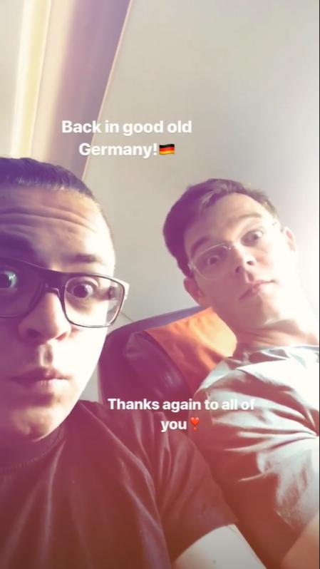 Gustav Instagram Story le 28.04.2018- De retour dans la bonne vieille Allemagne! 🇩🇪 Merci encore à vous tous ❣️