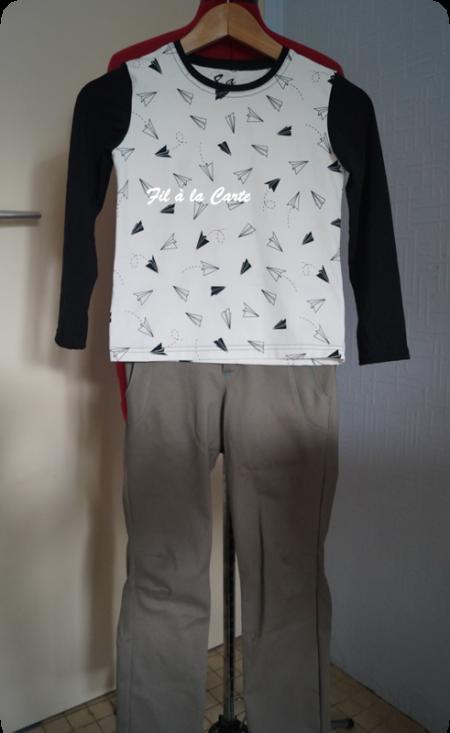 Tee shirt avions en papier 8 ans