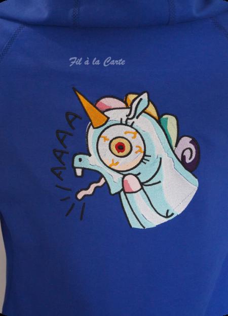 Sweat Licorne folle bleu