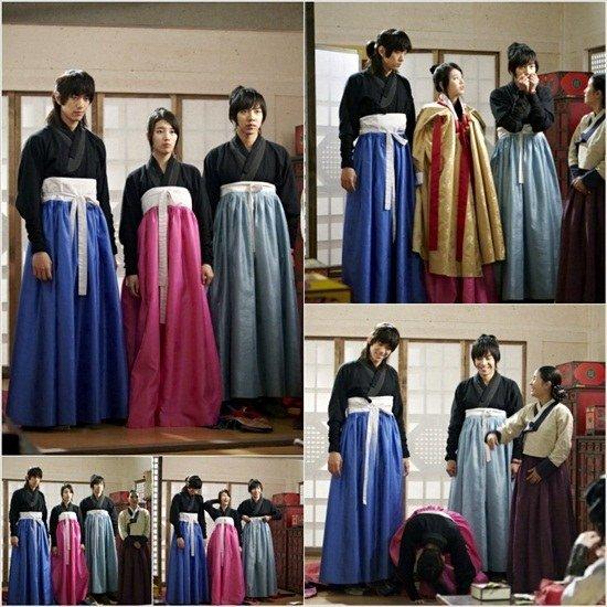 Lee Seung Gi et Sung Joon vêtue en hanbok féminin accompagné de Suzy des miss a