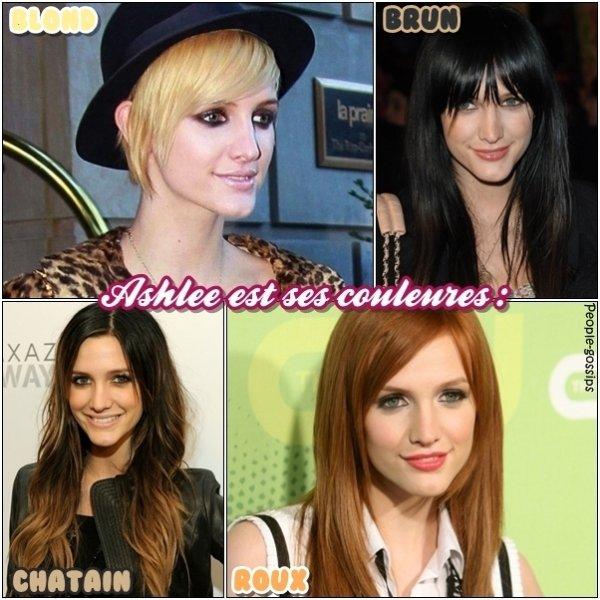 -------------- --------------  ASHLEE SIMPSON ET CES CHANGEMENTS DE COULEURES      Mon avis: Je la préfére avec ses cheveux chatains et long mais j'aime bien aussi comme elle est actuellement, c'est-à-dire cheveux blonds et courts ! Donne moi ton avis !  --------------