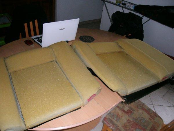 Préparation des sièges arrière en tissus léopard