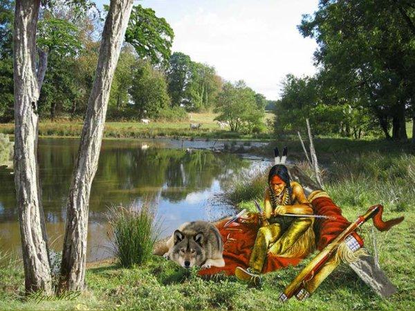 l'indien prépare des flêchesdes  pour la chasse