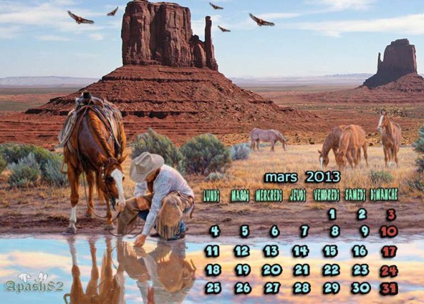 calendrier-mars 2013- bonne journée a tous mes amis(es)
