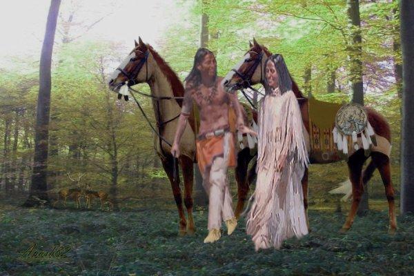 les deux amis se balade dans les bois au prientemps