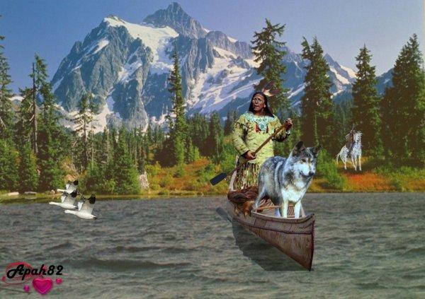 une belle balade  an canoë avec son loup_
