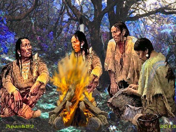 le clan sioux  de vent un feu pour une discussion pour aider votre Mère la Terre