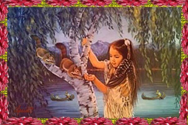 la fillette indienne et les écureuils
