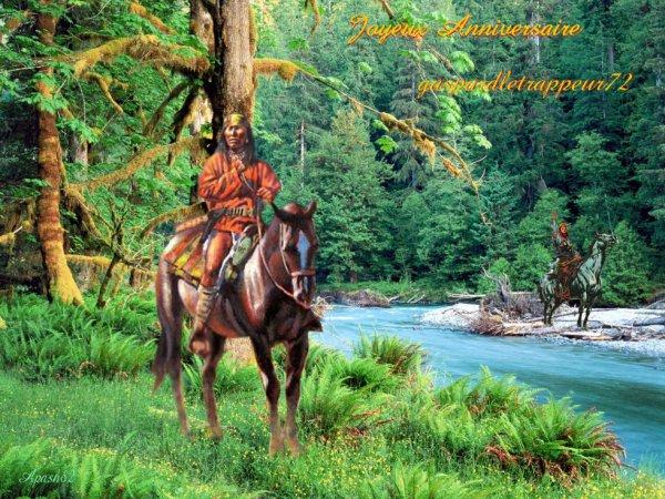 Amérindienne  une belle carte d'Anniversaire gaspardletrappeur72