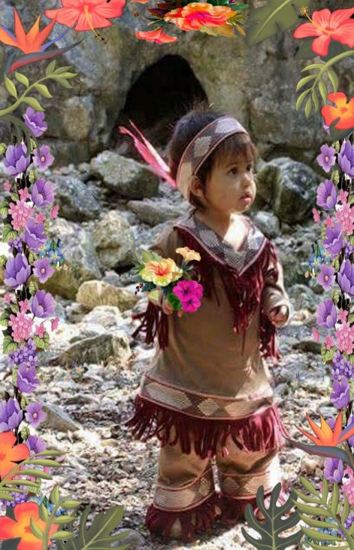 l'enfant  comanche vous offre des fleur a tous