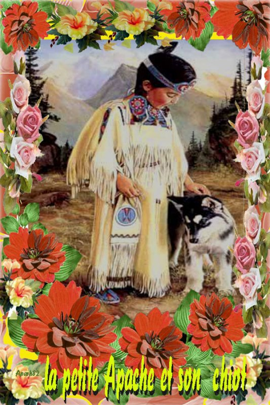 la petite Apache et son  chiot