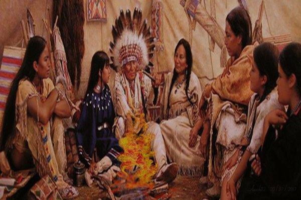 Le  grand chef sioux entouré  sa famille dans son tipi