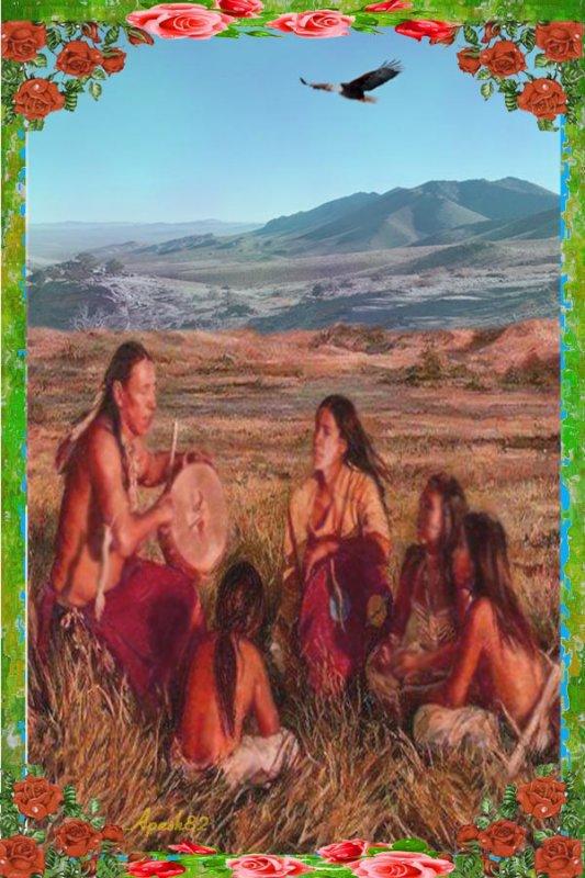 la famille indiens chante  et joue du tambourin sacrée