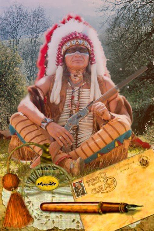 une carte  Amérindienne du chef Sioux