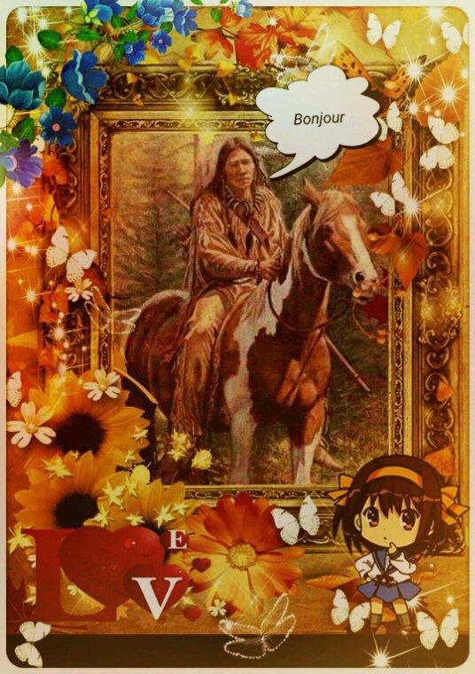 Amérindienne • bonjour mes amis(es) courage dans c'est journée▪