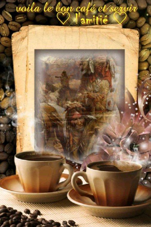 ♡Voilà un bon café et servir de l'amitié pour bien commencer la semaine♡