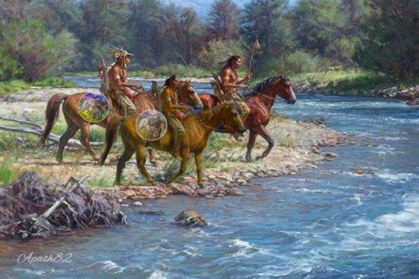 Les indiens vas traversée de la rivière