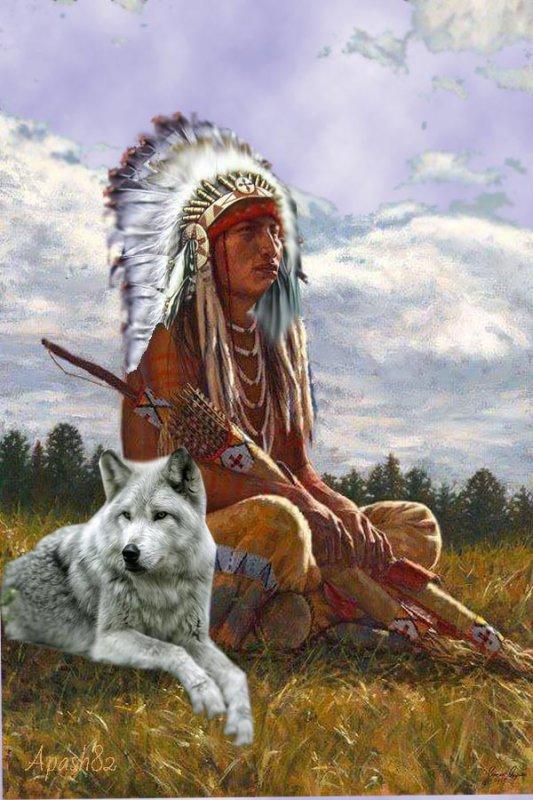 Amérindienne un grand chef Sioux  et le loup