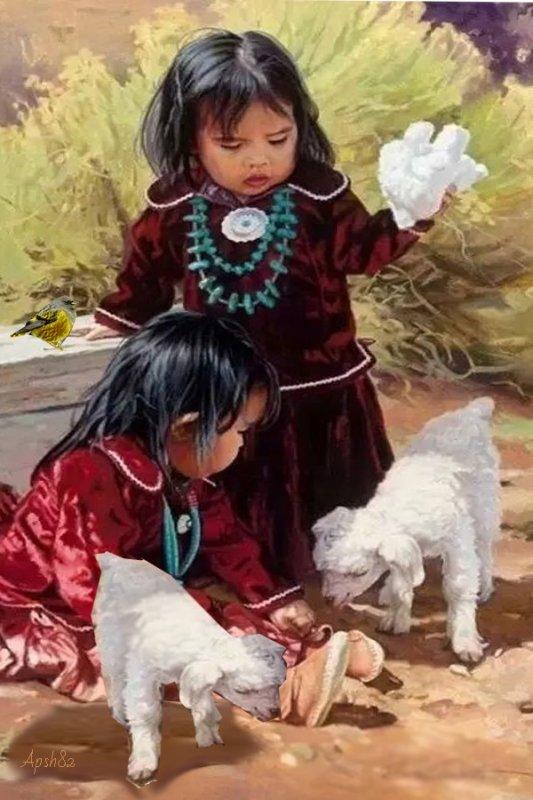 Les enfants et  des agneaux