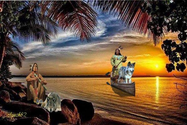 amérindienne La vie au bord de lac