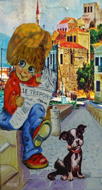 le poulbot assi sur une murette  ilt sont journal avec son chien