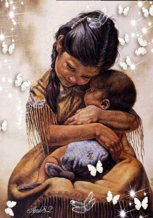 Amérindienne L'amour  d'une soeur  avec  son petit frère