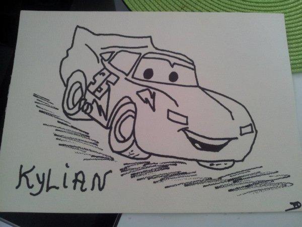 toile avec voiture flash mcqueen du dessin animé cars