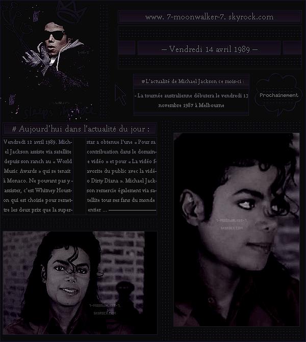 . – Article n°..  / Posté le 14/04/89 / Honneur : Michael Jackson assiste via satellite depuis son ranch  au « World Music Awards » qui se tenait à Monaco. - C'est la chanteuse Whitney Houston qui à l'honneur de lui remettre ses deux prix. - .
