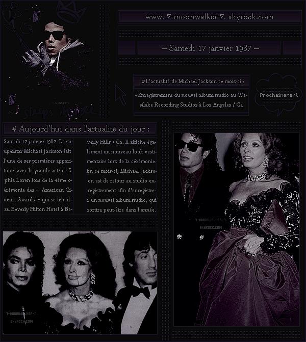 . – Article n°.. / Posté le 17/01/87  / Apparition : Michael Jackson assiste en tant qu'invité avec Sophia Loren à la 4ème cérémonie des « American Cinema Awards » qui avait eu lieu au Beverly Hilton Hotel à Beverly Hills / Ca ... -.