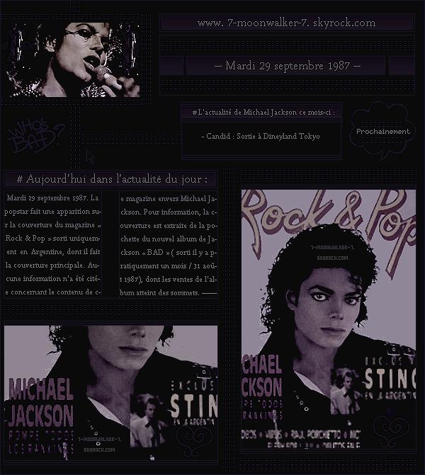 . 29/09/87 : Michael Jackson fait la une du magazine « Rock & Pop » en Argentine.– CANDID : Le soir même, il a été vu entrain de s'amuser au « Disneyland Tokyo » à Tokyo.  .