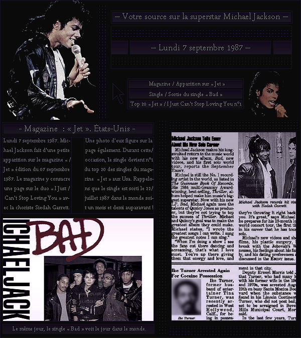 . – Article n°..  / Posté le 07/09/87 / Magazine & Apparition :  Michael Jackson fait une petite apparition dans l'une des pages du magazine américain « Jet » aux Usa. - Sortie du deuxième single de l'album extrait du même nom « Bad » !- .