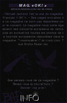 . 30/06/88  : Michael Jackson fait la couverture du magazine français « OK ! » en France !.