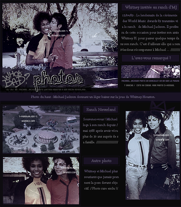 . 15/04/89 : Michael Jackson invite son amie Whitney Houston à son ranch « Neverland » en Californie..